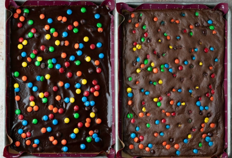 baked and unbaked brownie bark in a silver baking sheet pan