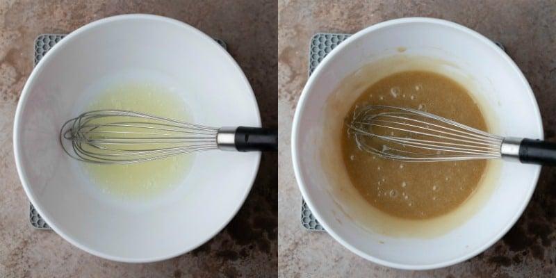 egg whites in a white mixing bowl