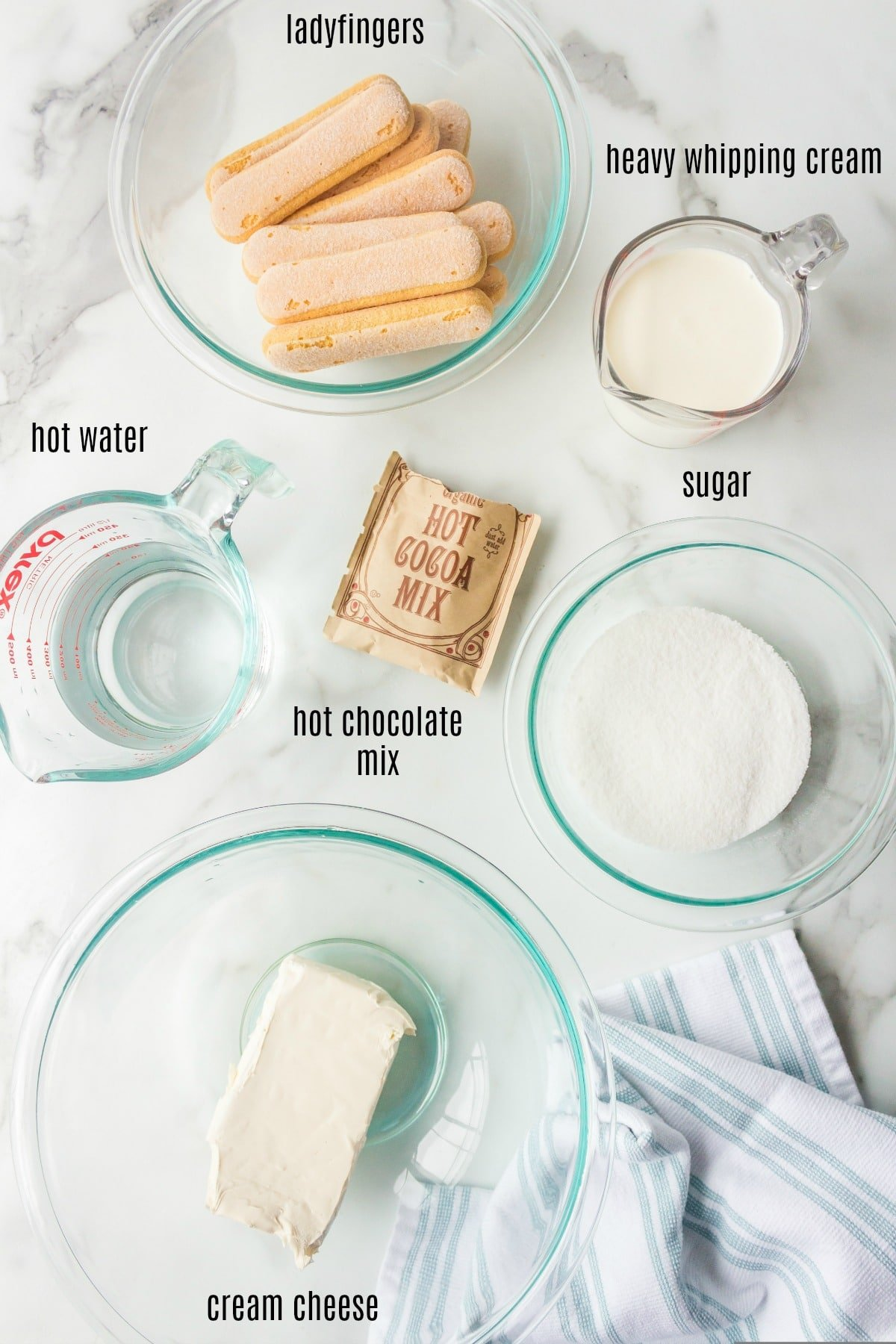 Hot chocolate tiramisu ingredients in dishes