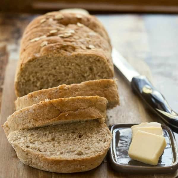 Sliced Multigrain Bread on a wooden cutting board