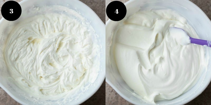 Whipped cream in a mixing bowl