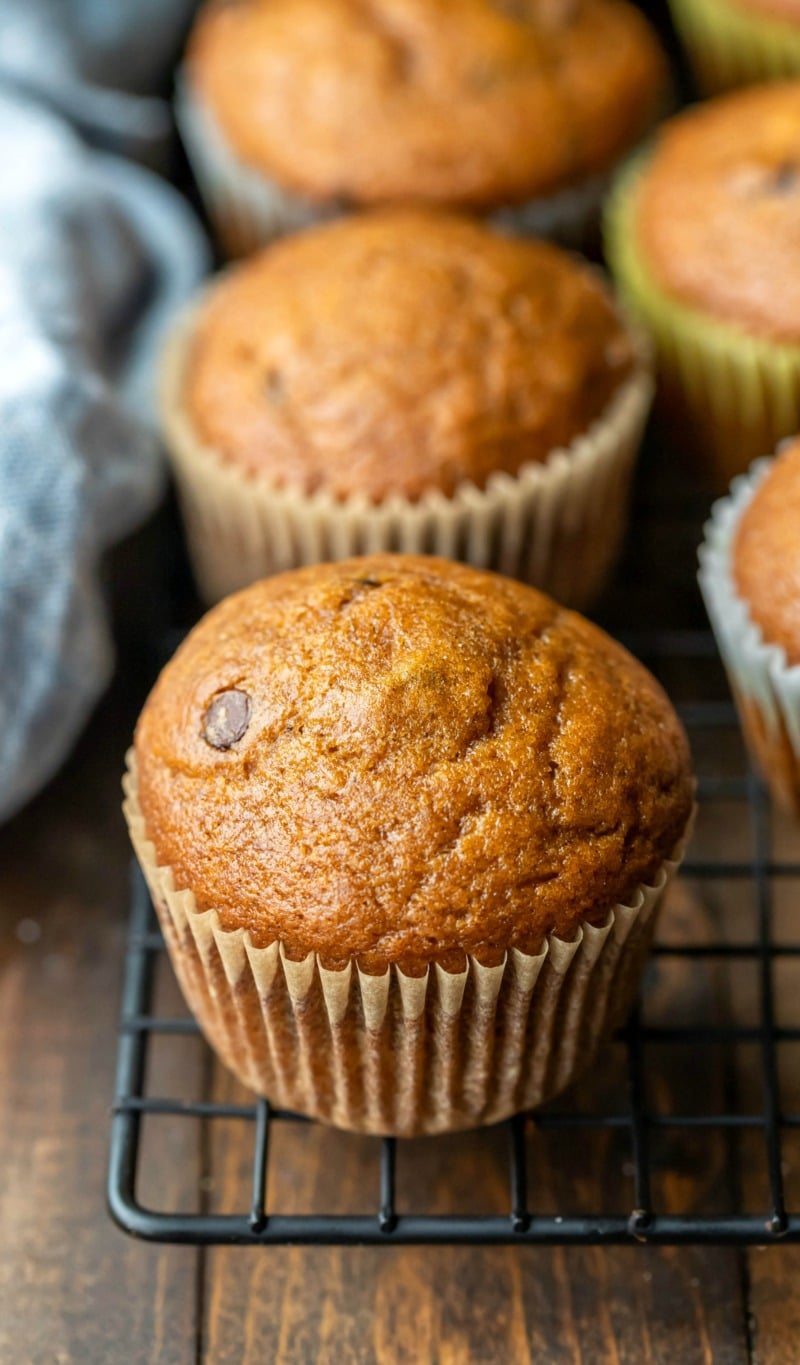 Pumpkin chocolate chip muffin on a wire cooling rack