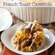 Overnight Pumpkin Cinnamon Roll French Toast Casserole