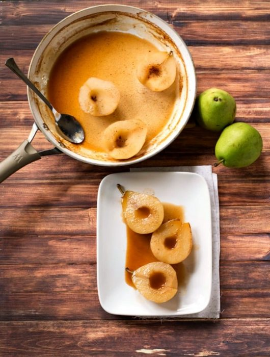 Warm Cider Spiced Poached Pears