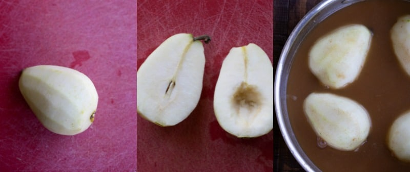 Cut pears in apple cider
