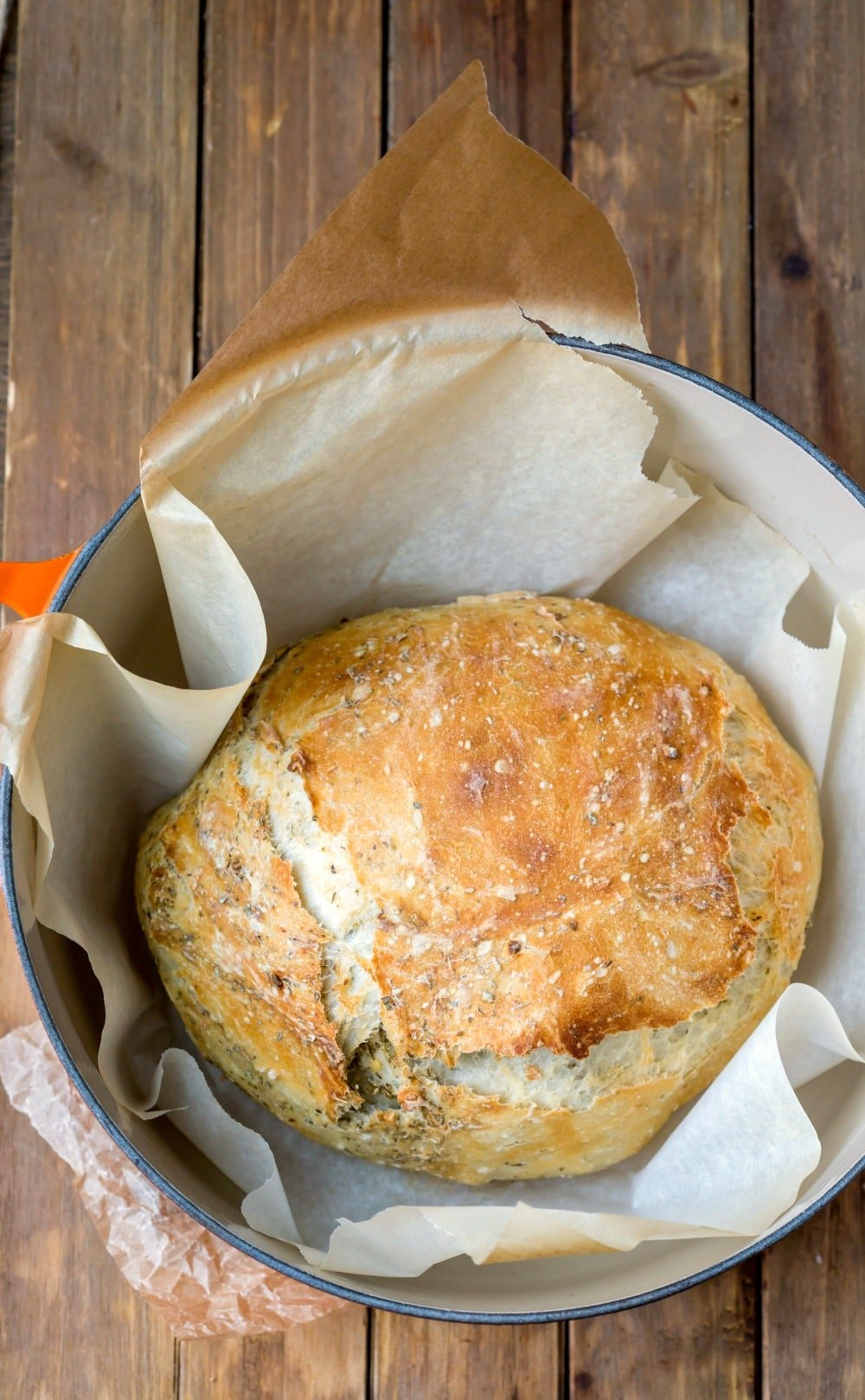 Garlic Herb No Knead Bread