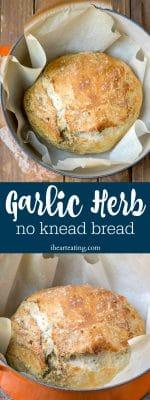 Garlic Herb No Knead Bread Recipe