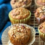 Oatmeal Raisin Bran Muffin on a gold cooling rack