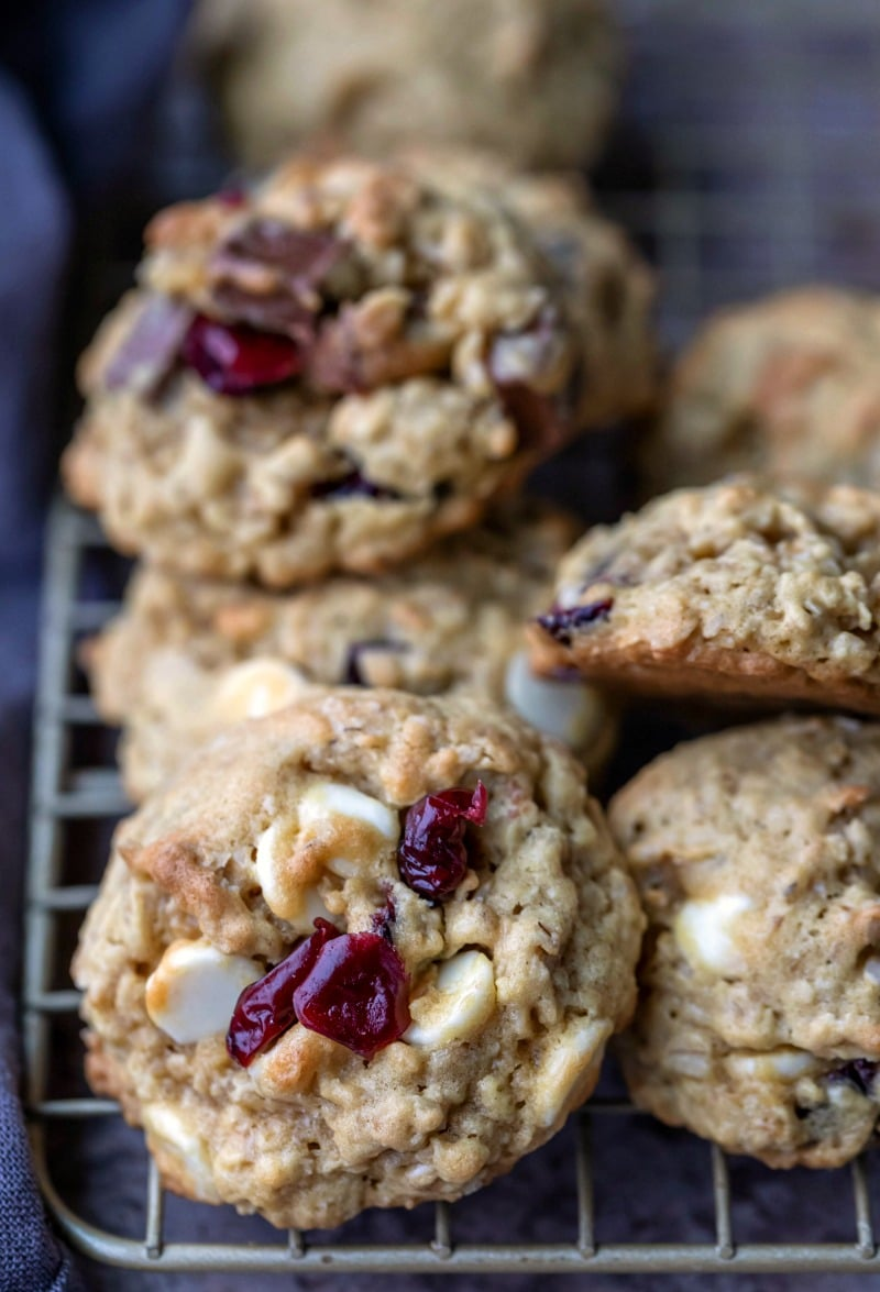 A stack of cranberry white chocolate chip oatmeal cookies