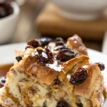 Cinnamon Swirl Bread Pudding with Maple Butter Rum Raisin Sauce