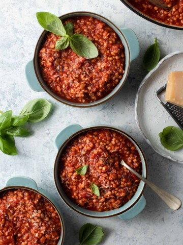 Overhead picture of lentil bolognese in three blue bowls