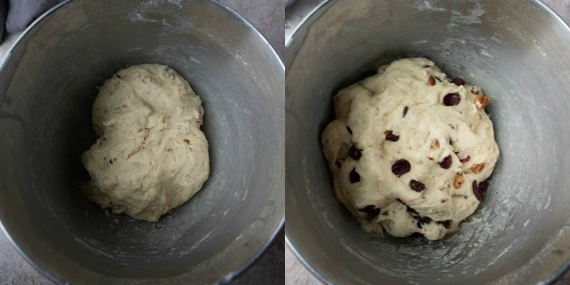 Cranberry wild rice roll dough in a silver mixing bowl