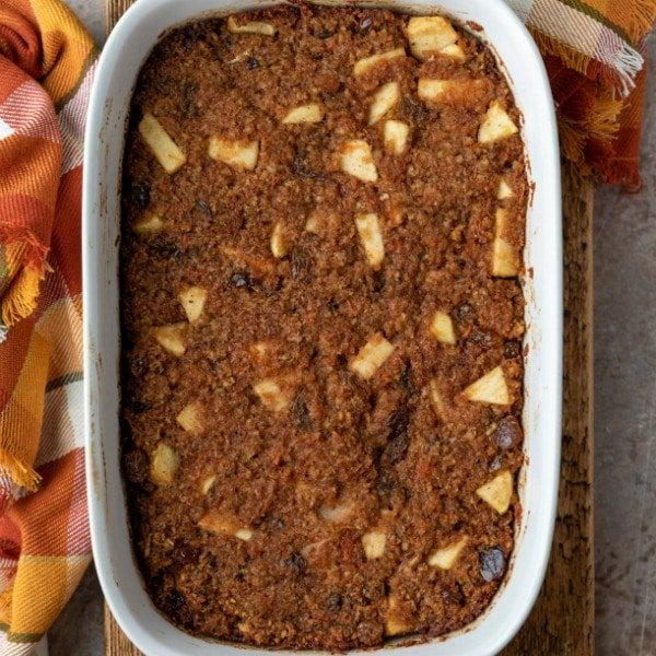 Baked carrot pudding in a white baking dish