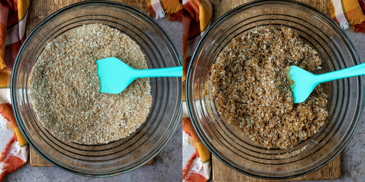Dry bread crumbs and spices in a glass mixing bowl