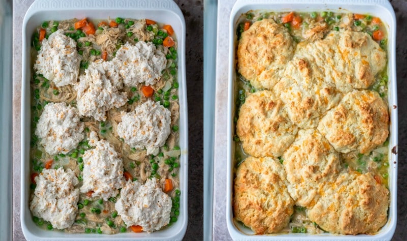 Unbaked biscuit dough on turkey pot pie filing