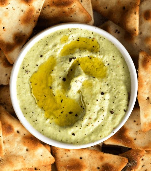 Roasted Garlic Edamame Hummus