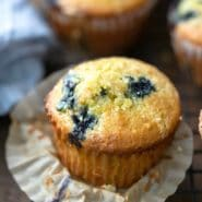 Lemon blueberry muffins on a wire cooling rack