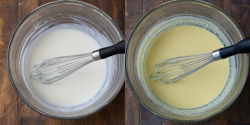 Buttermilk and ricotta in a glass mixing bowl