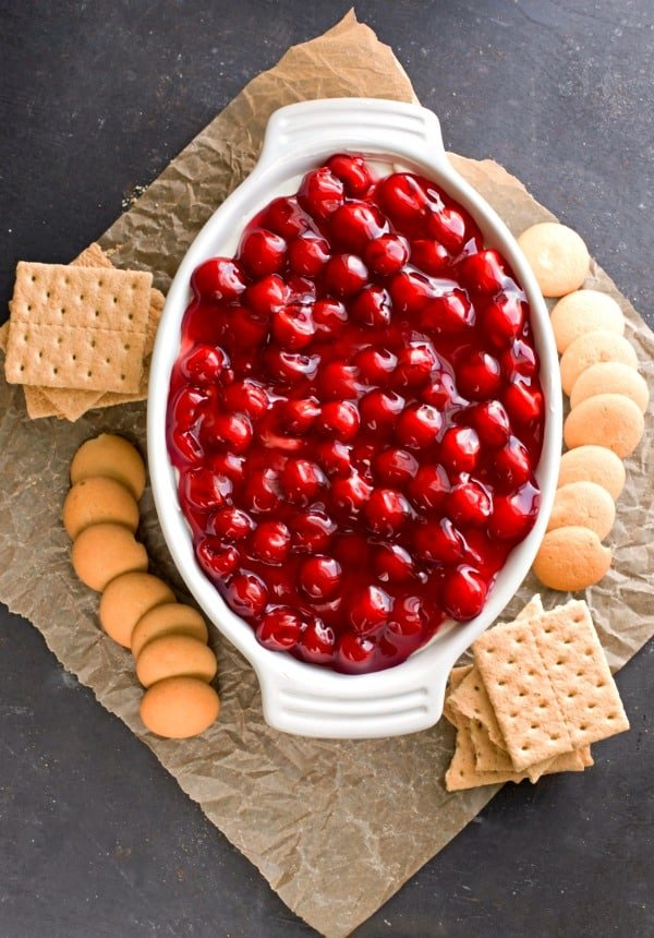Cherry Cheesecake Dip with cookies next to it
