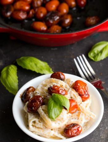 Fettuccine Ricotta with Blistered Balsamic Tomatoes
