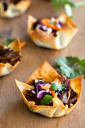 Slow Cooker Korean BBQ Taco Cups