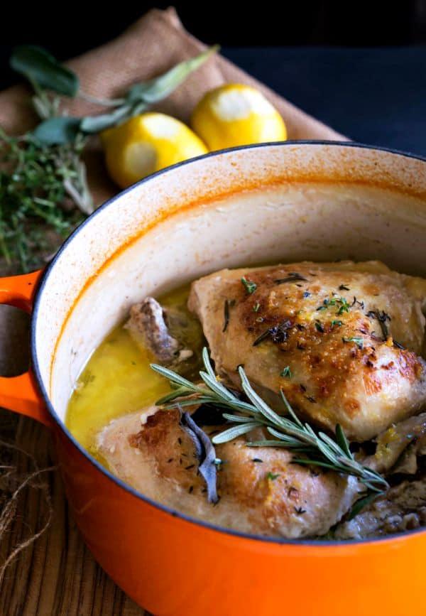 Roast Chicken in Milk in a Dutch oven