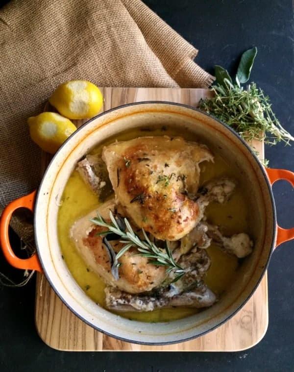 Overhead picture Roast Chicken in Milk in Dutch oven