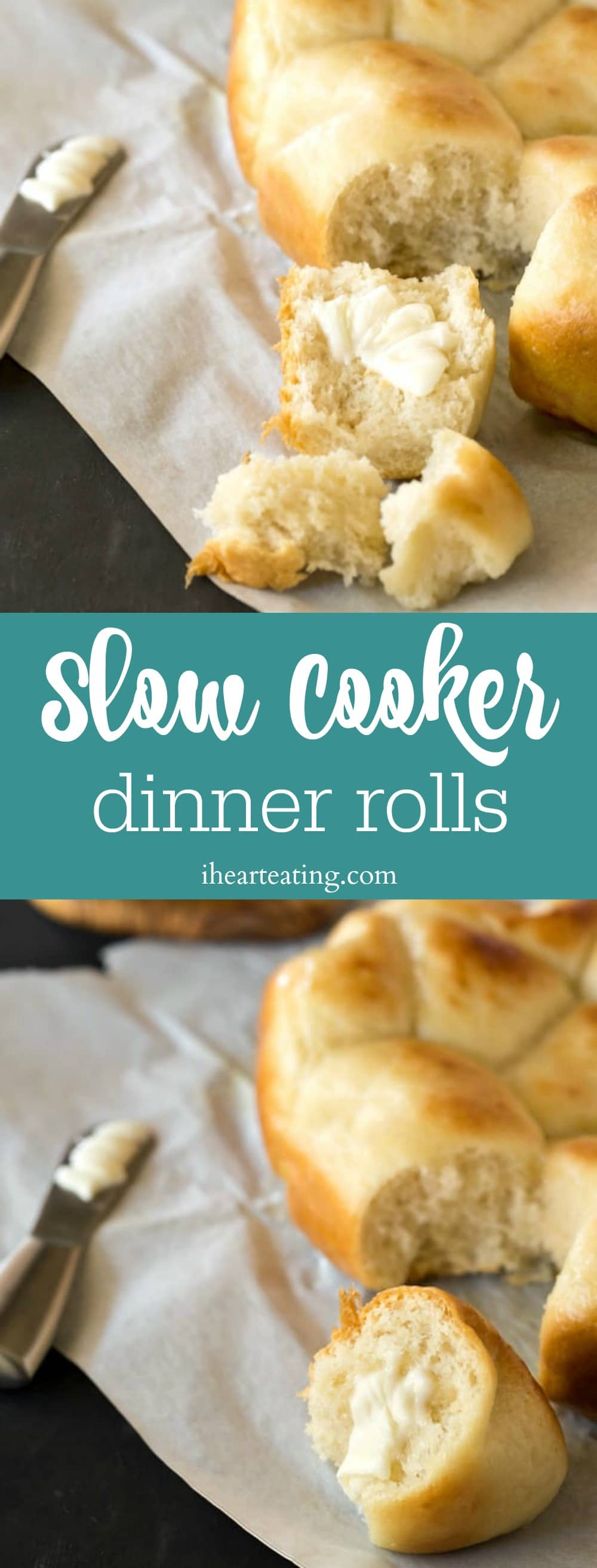 Slow cooker dinner rolls are an easy way to make fresh, homemade bread right in your crock pot! No oven necessary, which is perfect for holiday dinner!