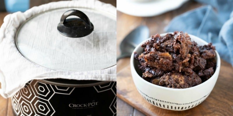 Chocolate bread pudding in a cream bowl