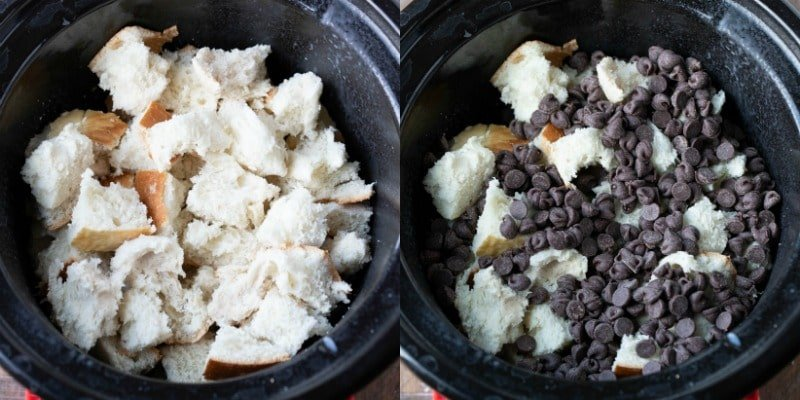 Bread cubes in a slow cooker insert