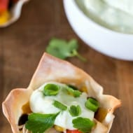 Southwest Chicken Wonton Cups with Avocado-Lime Dipping Sauce