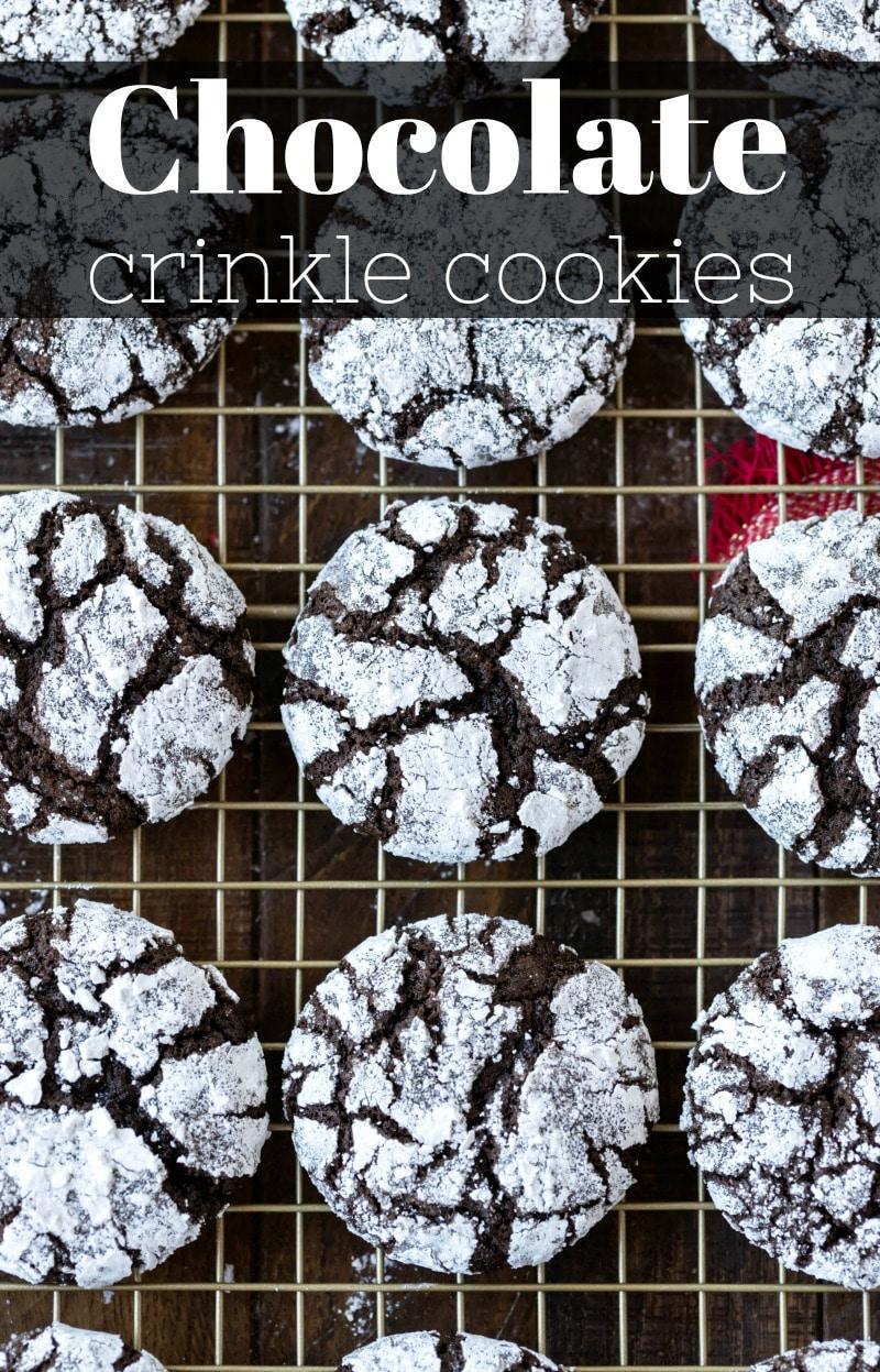 Chocolate Crinkle Cookie Recipe #Christmas #cookie #recipe #baking #dessert #chocolate