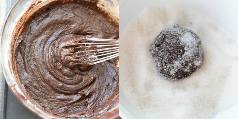 Chocolate crinkle cookie dough in a glass bowl