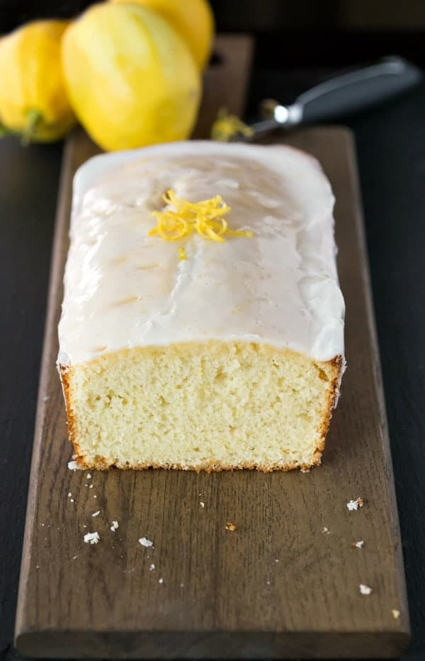 Iced Lemon Loaf with the end cut off