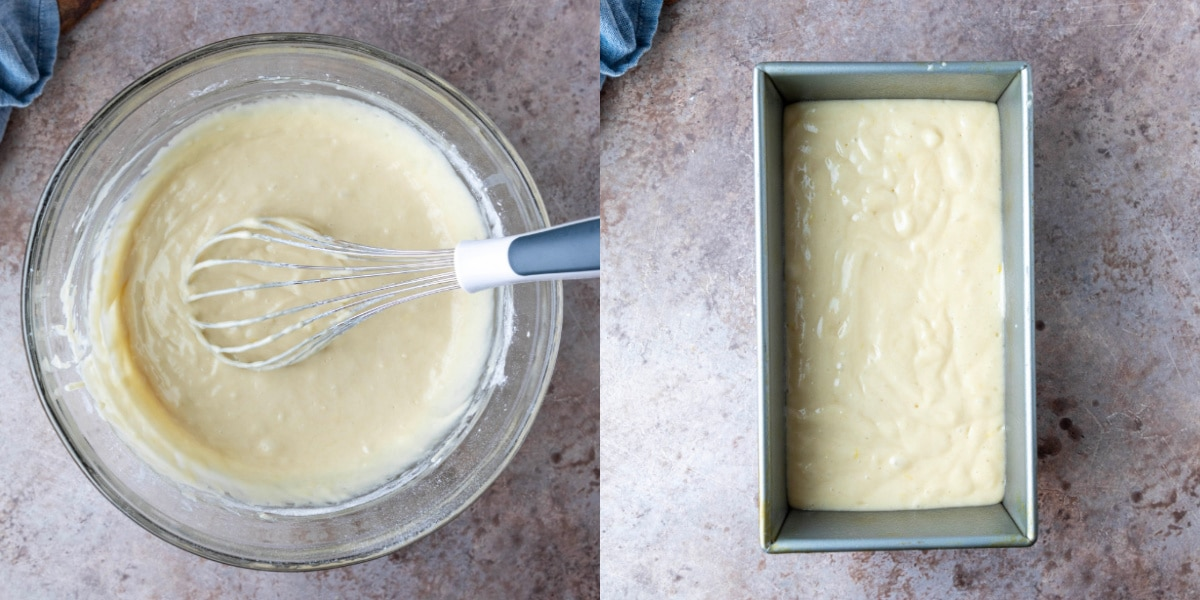 Lemon cake batter in a glass mixing bowl