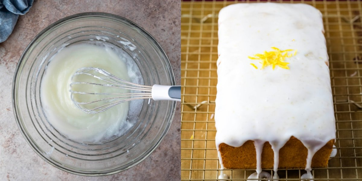 Icing in a glass mixing bowl
