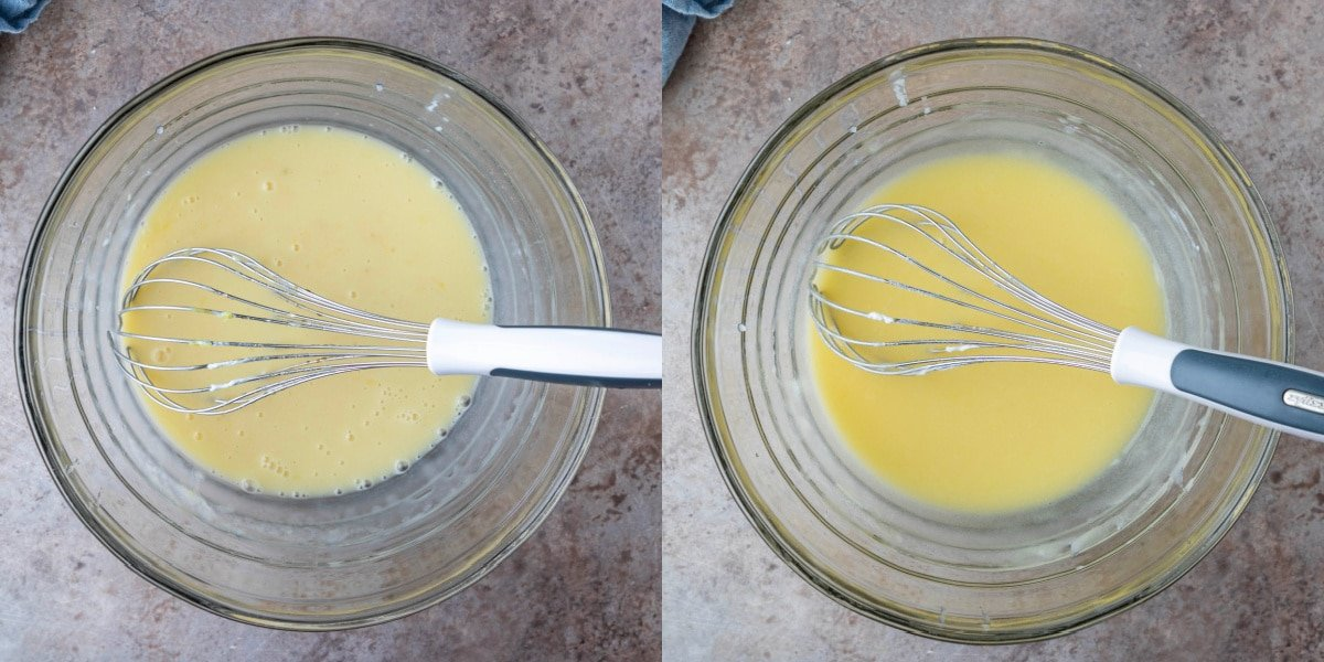 Oil sour cream and sugar in a glass mixing bowl