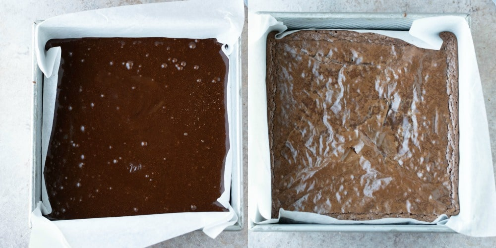Unbaked brownie batter in a silver baking pan