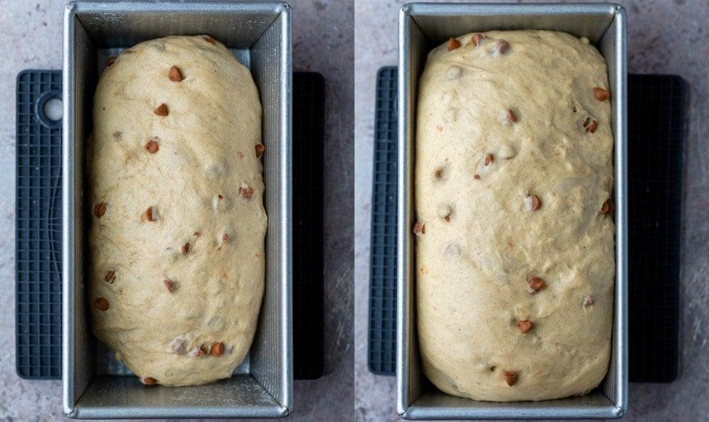 Cinnamon chip bread dough in a silver bread pan