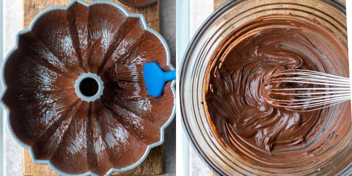 Bundt pan coated with chocolate pan release