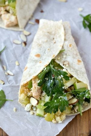 Apple Almond Chicken Salad Wrap