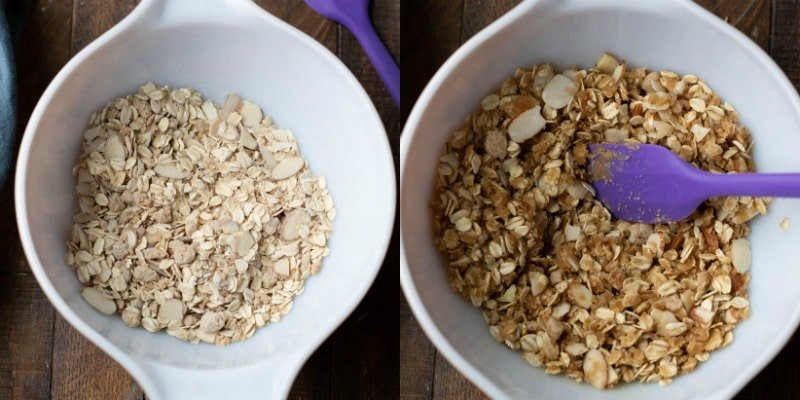 Oat streusel topping ingredients in a bowl