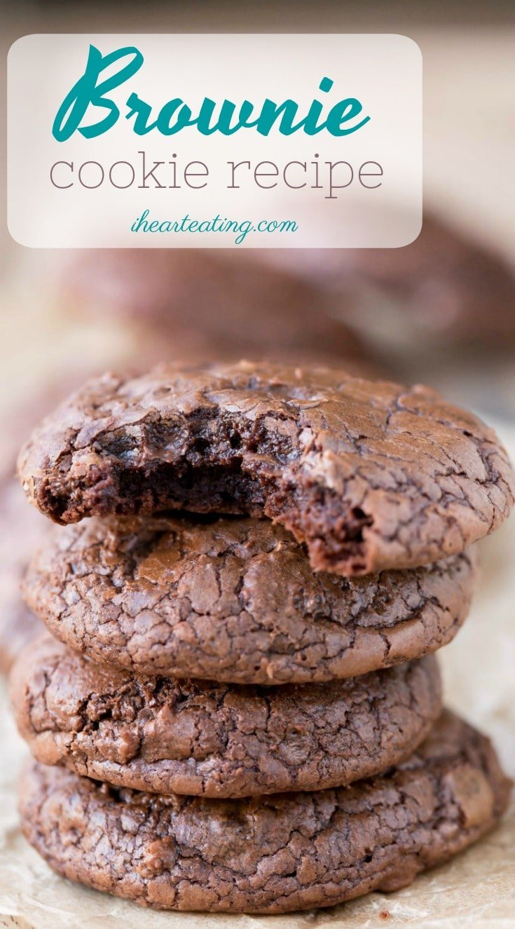 This brownie cookie recipe is all of the good parts of a brownie- crackly crust, fudgy middles, chewy edges, & intense chocolate flavor -in one little cookie!
