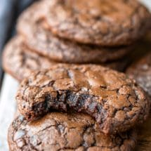 Stack of brownie cookies with a bit missing