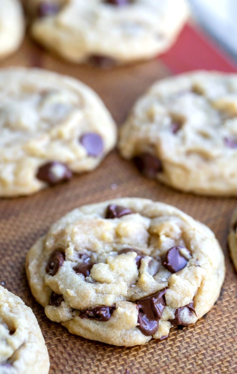 Easiest chocolate chip cookies on a silicone baking mat