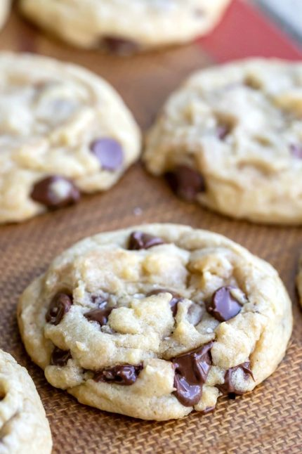 Easiest chocolate chip cookies on a tan silicone baking mat