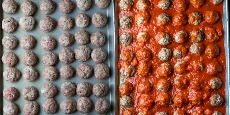 Baked meatballs on a baking sheet