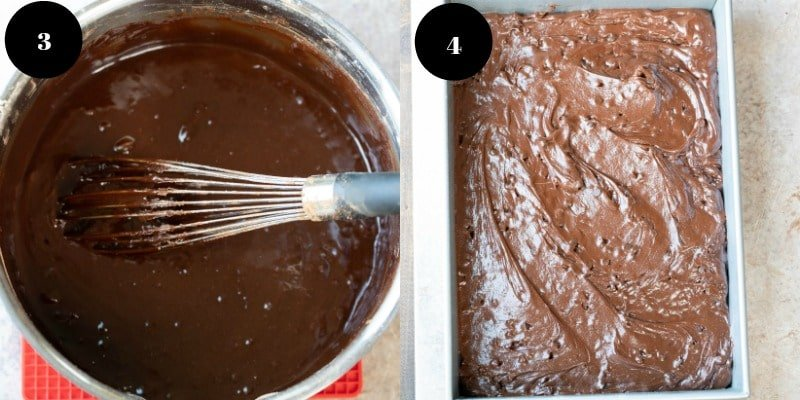box mix brownie batter in a baking pan