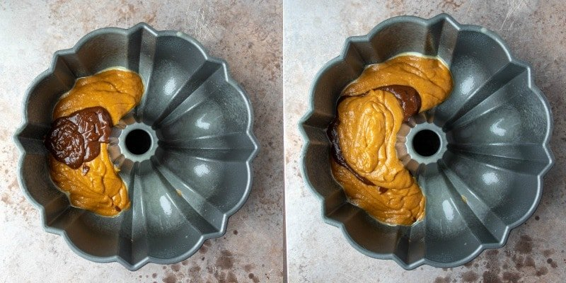 Pumpkin and chocolate cake batters in a bundt pan
