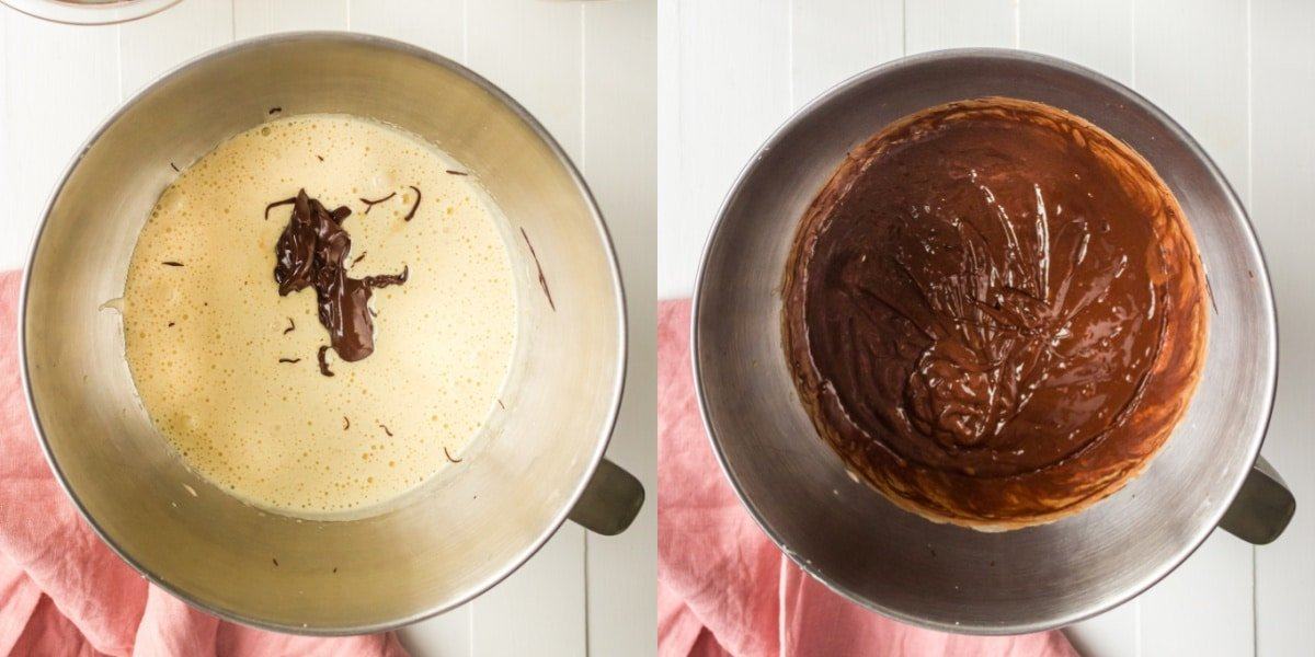 beaten egg and melted chocolate in a silver mixing bowl